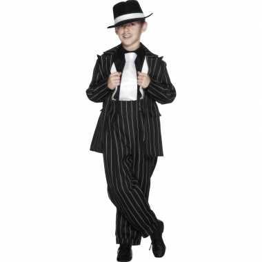Jongens gangster verkleedkleding zwart kind