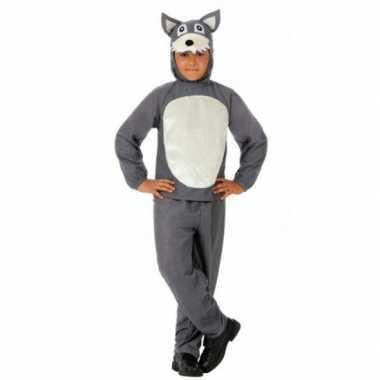 Kinder verkleedkleding grijs wolfje