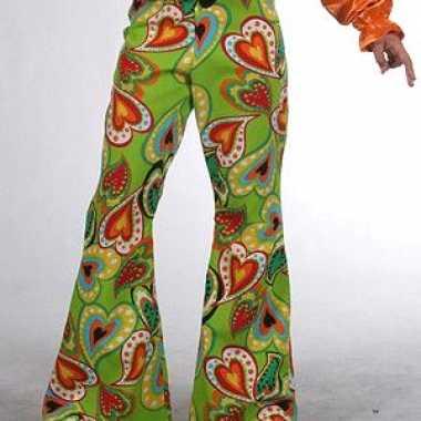 Verkleedkleding groene kinderbroek hippie hartjes