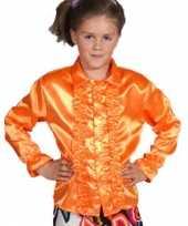 Verkleedkleding rouchesblouse oranje kind